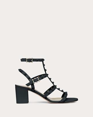 Valentino Rockstud Ankle Strap Calfskin Leather Sandal With Tonal Studs 60 Mm Women Black Calfskin 100% 40