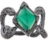 Michael Spirito Green Onyx Snake Ring