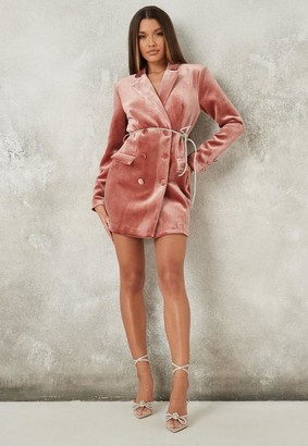 Missguided Velvet Diamante Belt Blazer Dress