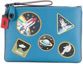 Coach space patch print clutch
