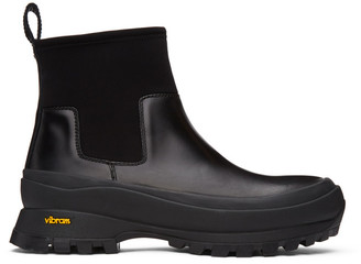 Jil Sander Black Neoprene Rain Chelsea Boots