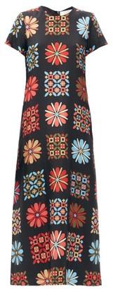 La DoubleJ Swing Floral-print Silk Maxi Dress - Black Multi