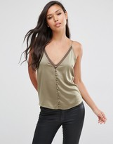 Asos Satin Deep V Cami Top with Button Front