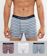 Abercrombie & Fitch 3 Pack Trunks Multi Pattern In Burgundy/White/Blue Stripe