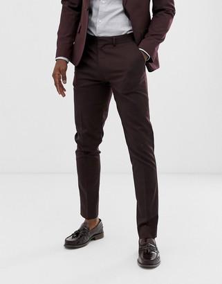 ASOS DESIGN skinny suit trousers in dark burgundy