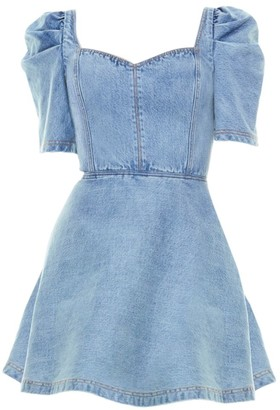 Alice + Olivia Maribel Puff-Sleeve Denim Dress