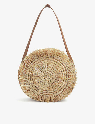 Whistles Lottie fringed straw tote bag