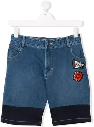 Little Marc Jacobs TEEN embroidered patch denim shorts