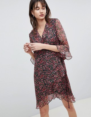 Selected Printed Wrap Dress With Ruffles