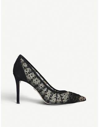 Sam Edelman Hazel polka-dot textile and leather heeled courts