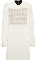 Giambattista Valli Macramé Lace-paneled Crepe Mini Dress - Ivory