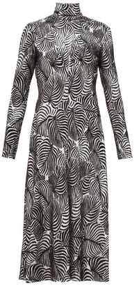 Paco Rabanne Hawaiian Palm-print Lurex And Velvet Midi Dress - Womens - Black Silver