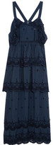 Self-Portrait Tiered Broderie Anglaise-trimmed Crepe Gown - Navy