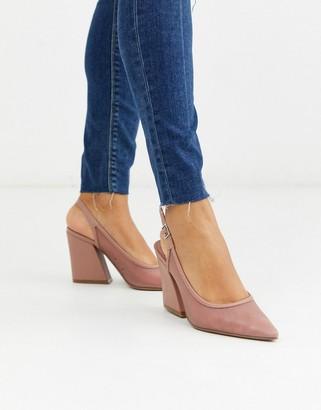 ASOS DESIGN Sukie slingback heels in blush