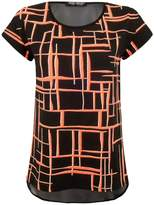 Select Fashion Fashion Womens Orange Neon Grid Chiffon Back Tee - size 12