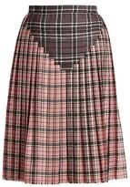 Marco De Vincenzo Pleated contrast-tartan wool skirt