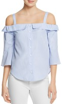 Aqua Stripe Cold Shoulder Ruffle Top - 100% Exclusive