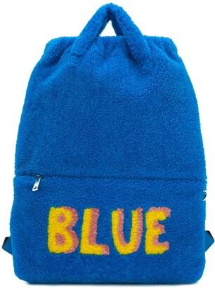 Fendi Blue slogan backpack
