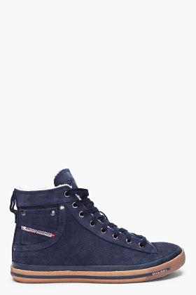 Diesel Navy Suede Exposure I Winter Sneakers