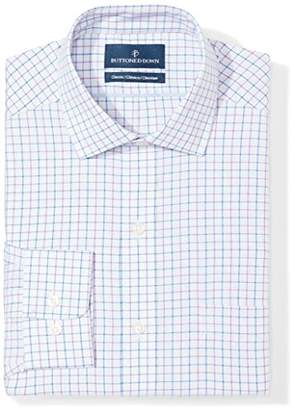 "Buttoned Down Classic Fit Spread Collar Pattern Dress Shirt, (Grey/Purple/Blue Check), 16.5"" Neck 36"" Sleeve"