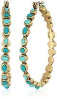 Lucky Brand Turquoise Beaded Hoop Earrings