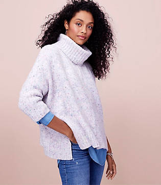 LOFT Flecked Turtleneck Poncho Sweater