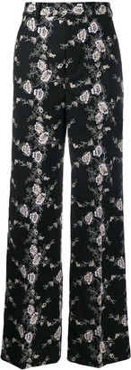 Giambattista Valli Floral Embroidered Wide Leg Trousers