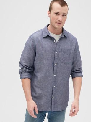 Gap Long Sleeve Shirt in Linen-Cotton