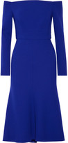 Lela Rose Off-the-shoulder Stretch Wool-blend Crepe Dress - Royal blue