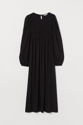 H&M MAMA Smocked-bodice Dress - Black