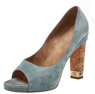 Chanel Light Blue Suede Cork Heel Open Toe Pumps Size 39