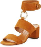 Aquazzura Safari Suede 50mm Sandal, Cognac