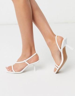 ASOS DESIGN Hammond strappy mid-heeled sandals in white