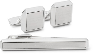 HUGO BOSS Logo-Engraved Silver-Tone Cufflinks And Tie Bar Set