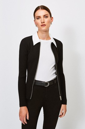 Karen Millen Collared Knitted Cardigan