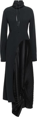 Victoria Beckham Asymmetric Paneled Satin And Crepe Maxi Dress