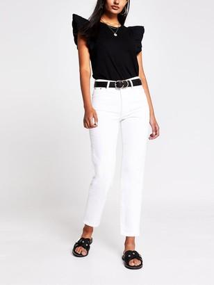 River Island Scallop Edge Woven Sleeve T-shirt - Black