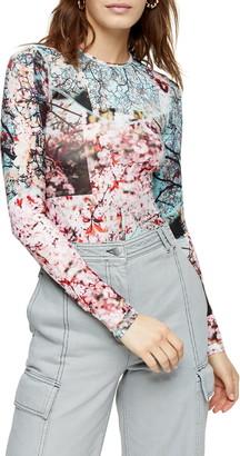 Topshop Blossom Print Mesh Long Sleeve Top