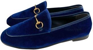 Gucci Jordaan Blue Velvet Flats