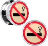 """Body Candy Stainless Steel No Smoking Glow in the Dark Screw Fit Plug Pair 9/16"""""""