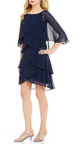 S.L. Fashions Bead-Trim Tiered Dress