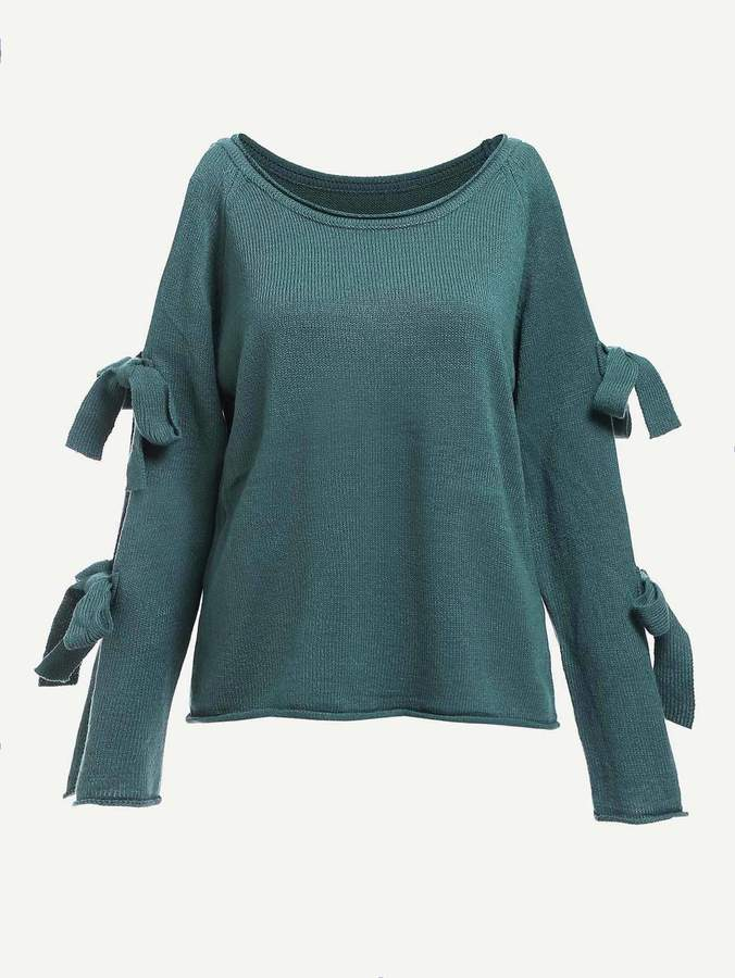 Shein Bow Tied Sleeve Solid Jumper