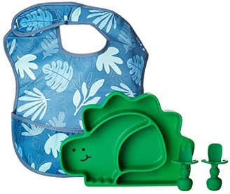 Bumkins Dinosaur Silicone Suction Plate and Utensils Set (Green) Accessories Travel