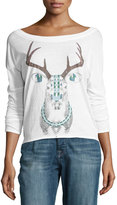 Chaser Painted Deer-Graphic Long-Sleeve Top, White