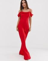 Club L London bardot cowl neck maxi dress