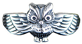 Ben Stacy Women's Rings Silver/White - Sterling Silver Owl Ring