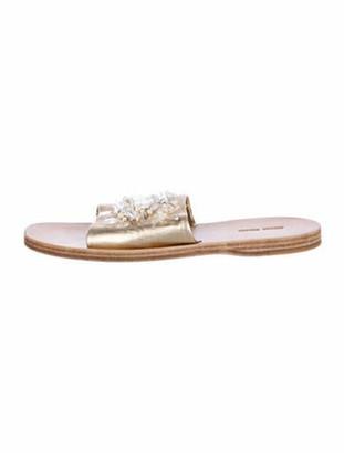 Miu Miu Leather Crystal Embellishments Slides Gold