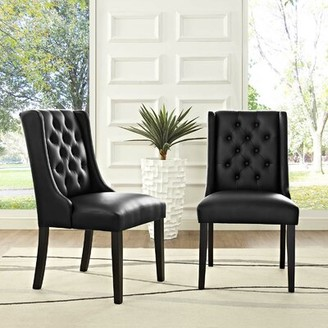 Tufted Vinyl Upholstered Solid Wood Persons Chair in Black Alcott Hill
