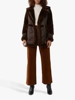 Warehouse Faux Fur Long Aviator Jacket, Brown