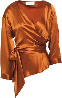 Mason by Michelle Mason Asymmetric Silk-satin Wrap Blouse